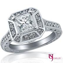 2.00ct (1.05) Princess Diamond Engagement Wedding Matching Bands Set 14k White G - $6,087.51