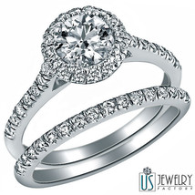 1.34 Carat F-SI1/SI2 Round Cut Halo Set Diamond Wedding Bridal Set 14k G... - £2,435.69 GBP