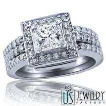 1.34 ct F-VS1 100% Natural Princess Cut Diamond Engagement Ring Bridal Set 14k - $2,969.01