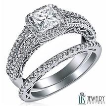GIA Certified 1.27 ct Princess Diamond Engagement Ring Wedding Band Set 14k Gold - $4,265.91