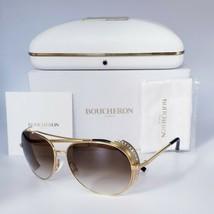 BOUCHERON Limited Edition Quatro Timeless Aviator Sunglasses Gold Brown ... - $550.00