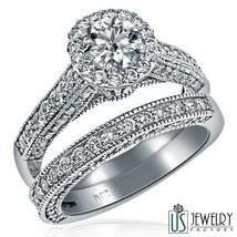 2.75 Ct (1.20) E/F-VS2 Round Cut Diamond Engagement Ring Wedding Band 14... - £5,727.58 GBP
