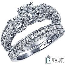 14K Gold 1.88 Ctw Three Stone Round Cut Diamond Engagement Ring Wedding ... - £2,916.87 GBP
