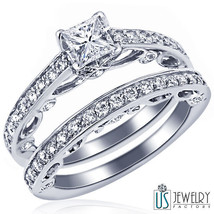 1.62 ct (0.57) G-VS1 Bridal Set  Princess Diamond Engagement Ring Weddin... - €2.238,85 EUR
