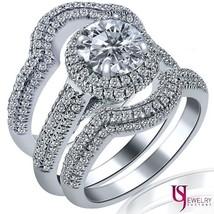 3.10 Carat (1.10) E-SI1/SI2 Round Diamond Engagement Wedding Set 14k Whi... - £5,681.75 GBP
