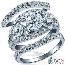 3.22ct F/VS1 Round Art-Deco Diamond Matching Wedding Bands Set 14k White... - £6,285.14 GBP