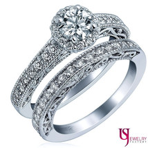 Halo Set Collection Round Diamond Wedding Bridal Set 14k White Gold 1.25ct F/VS2 - $2,870.01