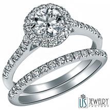 1.18ct F-VS2 Round Halo Set Diamond Encrusted Wedding Bridal Bands Set 14k Gold  - $2,573.01