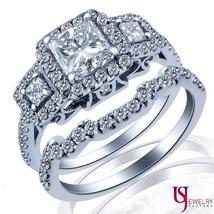 Three Stone Matching Princess Diamond Wedding Bridal Set 18k Gold 1.46ct F/G-VVS - $3,770.91