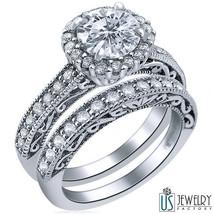 Halo Set Round Diamond Wedding Bridal Set 14k White Gold Shank 1.92 Carat E/SI1 - $4,830.21