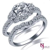 1.37ct Round Cut Halo Three Stone Diamond Wedding Matching Bands Set 14k Gold - $2,870.01
