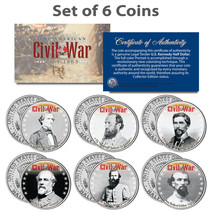 American CIVIL WAR South CONFEDERATE LEADERS Kennedy JFK Half Dollars 6-... - $29.95