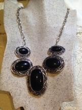 Vintage Fait à la Main Finition Argent Véritable Onyx Noir Collier - $39.89
