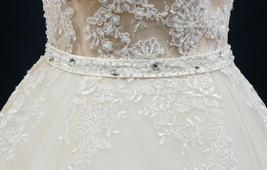 Court Train A-Line Applique Beaded Sheer Lace Tulle Wedding Gown image 7