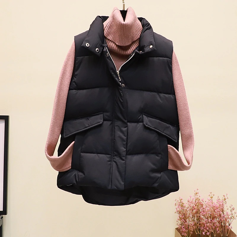 New black warm padded winter vest with pockets stand collar sleeveless waistcoat image 4