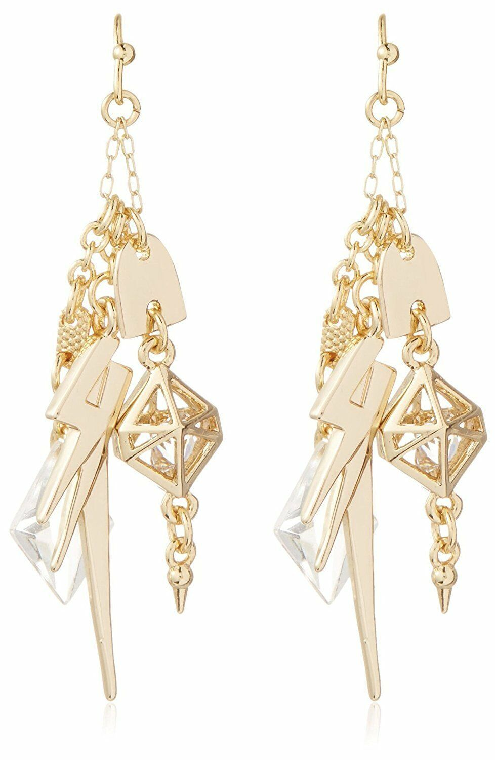 Fragments Multi Charm Lightning Bolt Crystal Gold Plated Drop Dangle Earrings