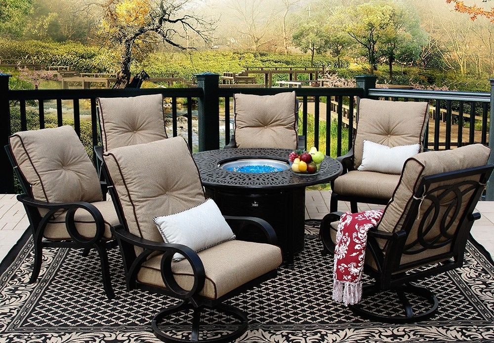 OUTDOOR PATIO 7PC DINING SET 52 INCH ROUND FIRE TABLE SERIES 2000