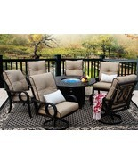 OUTDOOR PATIO 7PC DINING SET 52 INCH ROUND FIRE TABLE SERIES 2000 - £5,040.02 GBP