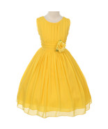 Yellow Round Neck Yoryu Chiffon Flower Girl Dresses Birthday Bridesmaid ... - $38.00