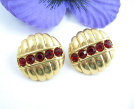 SWAROVSKI Red Crystals Pierced EARRINGS Vintage Round Goldtone S.A.L. Sw... - $16.99
