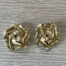 Vintage Kramer Signed Goldtone Abstract Star Clip Earrings – marked on b... - $12.19
