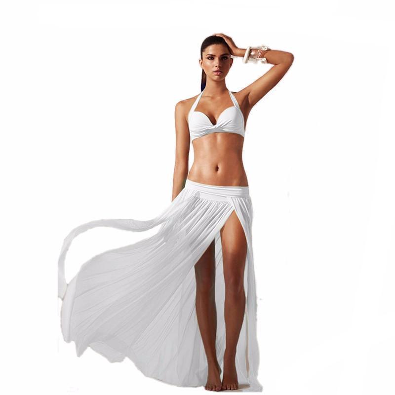 Summer Tunic High Slit Women Cover Up Skirt