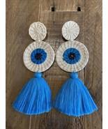 Stud Evil Eye Tassel Straw Palm Raffia earrings Handcrafted In Colombia ... - $38.00