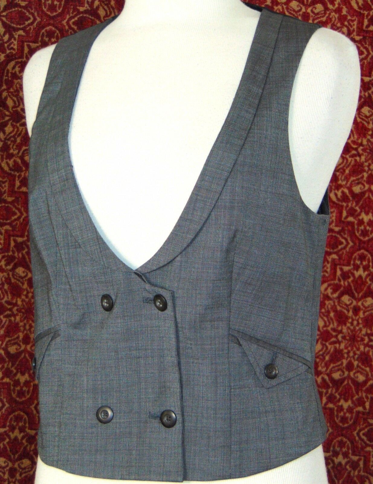 GAP gray double breasted wool blend vest M (T42-03G8G)