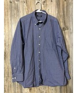 Chaps Long Sleeve Classic Fit Button Dark Blue White Check Shirt Men's XL - $13.85