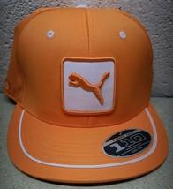 Puma/Cobra 110 FlexFit Flat Brim Snap Back Cap Vibrant Orange Golf Hat - $16.72
