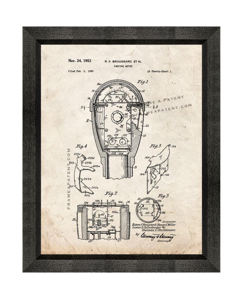 Parking Meter Patent Print Old Look with Beveled Wood Frame - $24.95 - $109.95