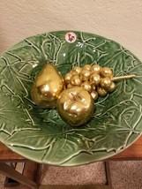 LARGE PORTUGAL BORDALLO PINHEIRO  GREEN MAPLE LEAF SALAD~ SERVING BOWL 1... - $35.63