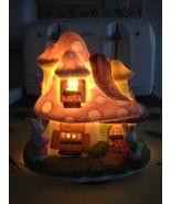 Easter Bunny Light Up Porcelain Ceramic Mushroom House Pastel Colors Ver... - $27.99