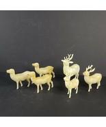 6 Vintage Celluloid Plastic Deer Reindeer Animals Unmarked 3 Missing Ant... - $19.99