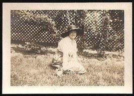 Woman in wide brim black Fashion Hat Summer Day lattice work fence Antiq... - $14.99