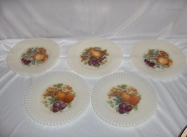 5 Vintage MacBeth Evans Petalware Glass Opalescent Plates Painted Fruits NICE - $64.35