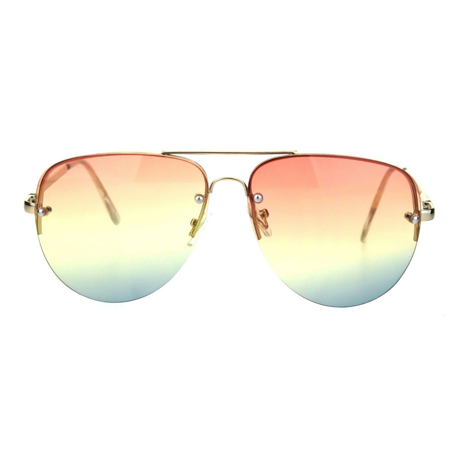 Womens Half Rim Aviator Sunglasses Ombre Color Gradient Lens UV 400