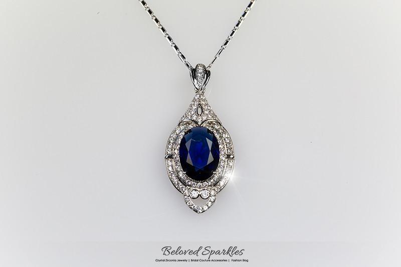 Adela Vintage Art Deco Sapphire Blue Pendant Necklace   27 Carat   Cubic Zirconi