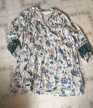 Old Navy Sz XL White Floral Print Loose Rayon babydoll Dress Lined Tucke... - $23.12