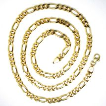 18K YELLOW GOLD CHAIN BIG 5 MM ROUNDED FIGARO GOURMETTE ALTERNATE 3+1, 24 INCHES image 5