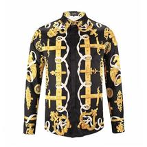 Gold Black Print Luxury Baroaque Party Shirt Men Prom Shirt Chemise Homm... - $73.68+