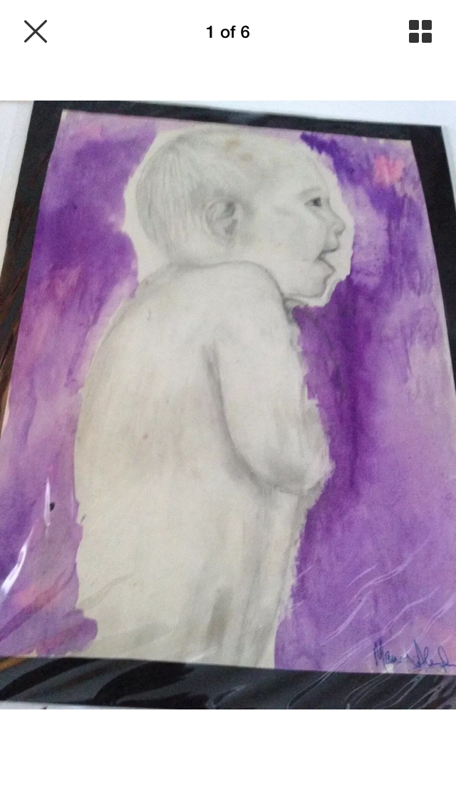 Primary image for Giggling baby drawing with paint wash signed by artist