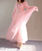 Pink Tutu Dress for Adults Gown Long Sleeve Retro Pink Plaid Tutu Birthday Gown image 7