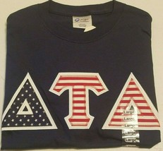 DELTA TAU DELTA  - Red White and Blue Lettered Navy Blue t-shirt: Size L... - $23.50