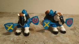 Imaginext Great Adventures Castle Knight Jousting Horses Blue (Set BP) GUC - $14.80