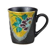 Kutani yaki ware Japanese coffee mug tea cup peony made in japan - $43.58