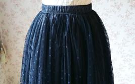 Adult Long Tulle Skirt, Black Gray Polka-dots Tulle Skirt, Evening long skirts image 6