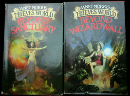 Lot 2 THIEVES WORLD Janet Morris BEYOND SANCTUARY WIZARDWALL HCDJ Sacred... - $8.10