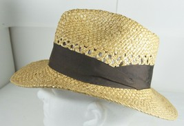Indiana Jones Straw Fedora Woven Hat Mens Medium With Band Made in USA - $39.19