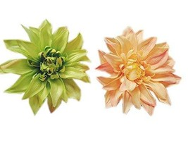 Green & Orange African Daisy Hair Pins Wedding Hair Clips